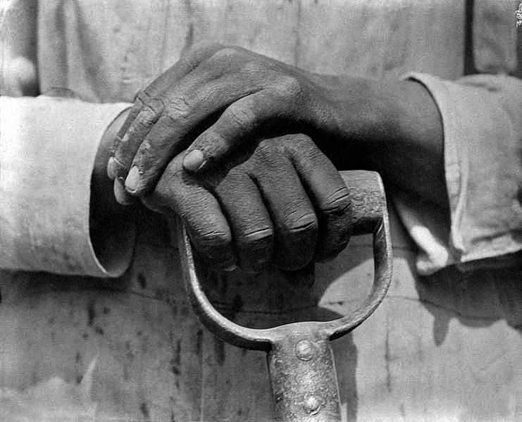 Mani di un operaio dell'edilizia